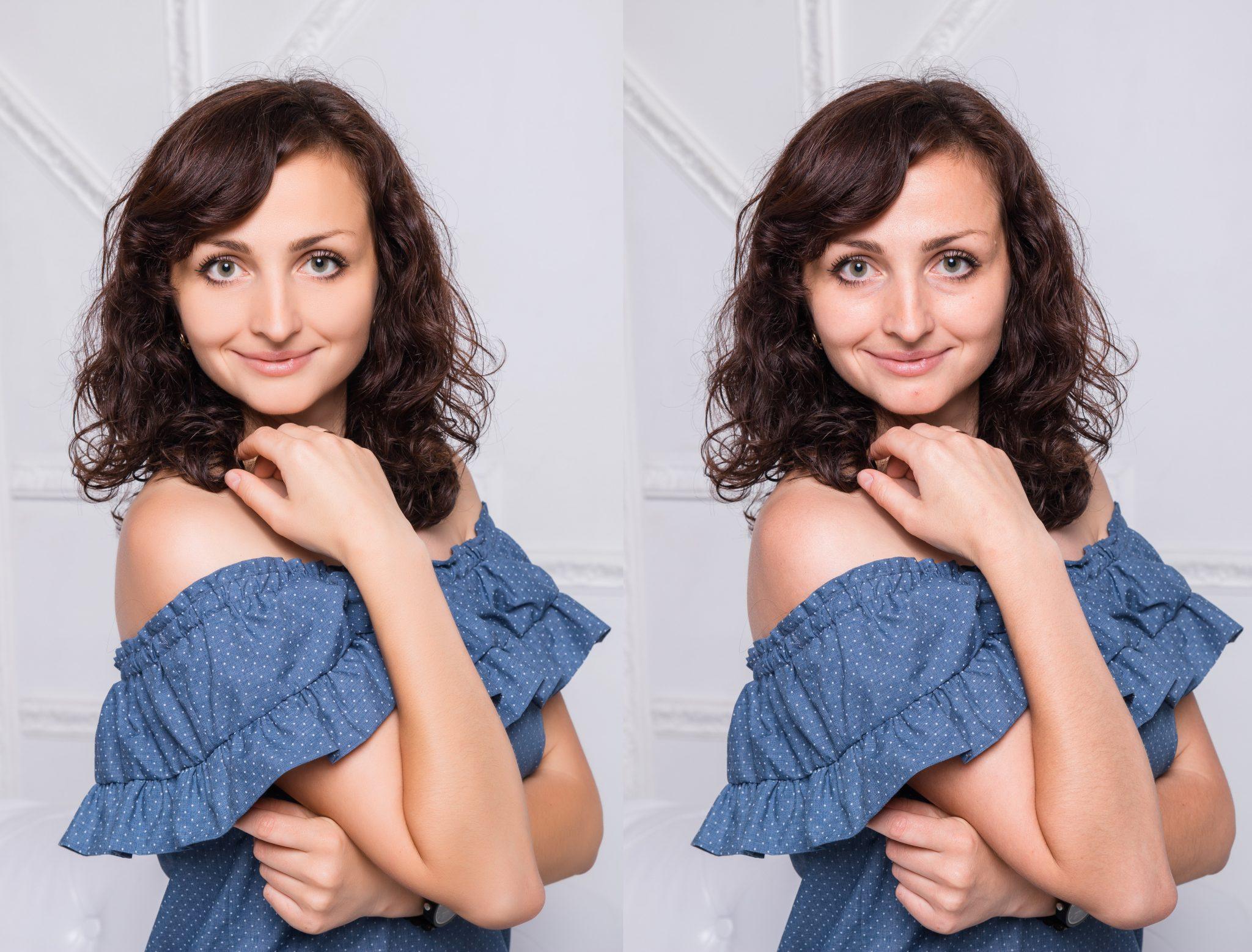 Ретушь в фотостудии Frontpage, сравнение исходного и окончательного вариантов