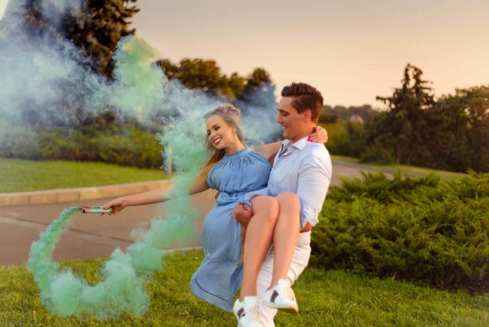 Фотосессия с дымовыми шашками, ph Постникова, Love Story, локация Родина-Мать, зеленый дым
